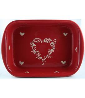 Plat à lasagne 24 cm - Rouge coeur nature