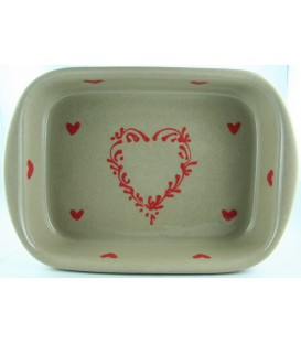 Plat à lasagne 32 cm - Taupe coeur rouge