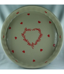 Tourtière 28 cm - Taupe coeur rouge
