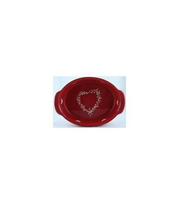 Plat ovale 29 cm - Rouge coeur nature