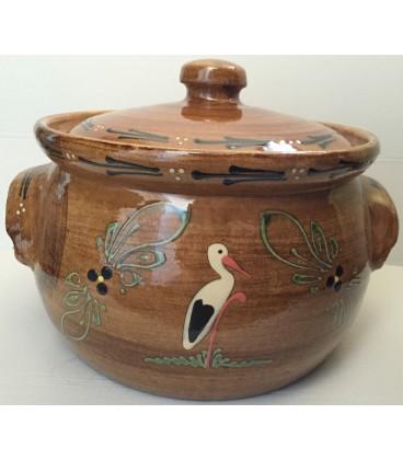 Terrine ronde - 30 cm -Faux bois cigogne