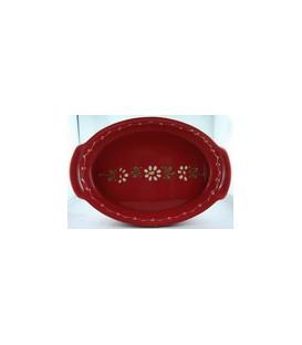 Plat ovale 39 cm - Rouge fleur