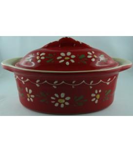 Terrine ovale pour 2 à 3 personnes - Rouge fleur