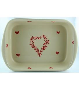Plat à lasagne 24 cm - Nature coeur rouge