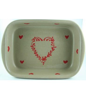 Plat à lasagne 24 cm - Taupe coeur rouge