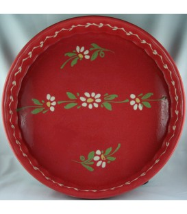 Tourtière 30 cm - Rouge fleur