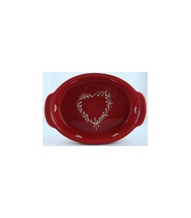 Plat ovale 21 cm - Rouge coeur nature