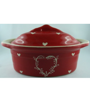 Terrine ovale individuelle - Rouge coeur nature