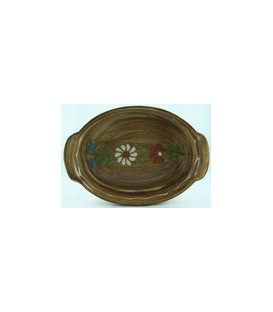 Plat ovale 29 cm - Faux bois fleur