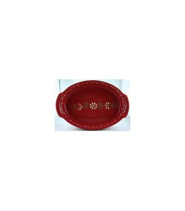 Plat ovale 29 cm - Rouge fleur