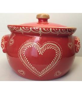 Terrine ronde - 25 cm - Rouge coeur