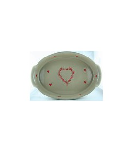 Plat ovale 34 cm - Taupe coeur rouge
