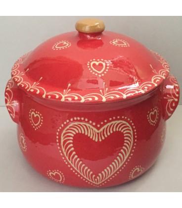 Terrine ronde - 20 cm - Rouge coeur