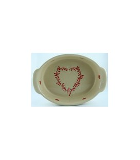 Plat ovale 39 cm - Nature coeur rouge