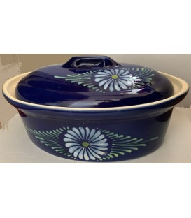 Terrine ovale pour 10 à 12 personnes - Bleu fleur