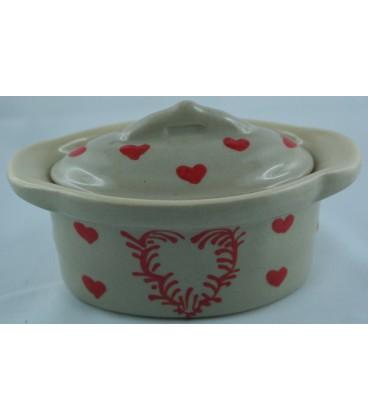 Terrine ovale miniature/verrine - Taupe coeur rouge